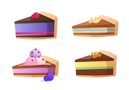 Vector illustration of tasty desserts. Editable design elements.