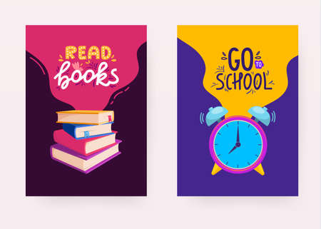 Set of school banners with objects and text.