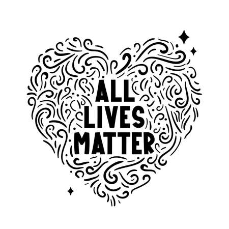 All lives matter text label with heart.