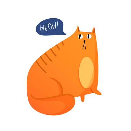 Fat red cat in cartoon style isolated on white. Illustration