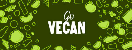 Go Vegan text and vegetable pattern on green.