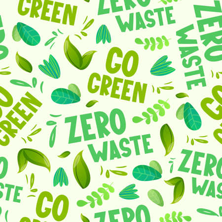 Go green text and leaves seamless pattern.