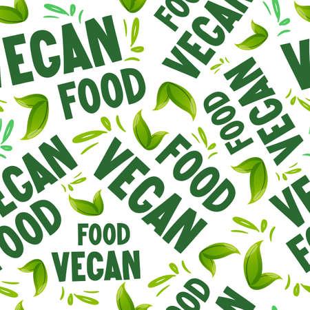Vegan Food text and green leaves seamless pattern. Ilustracja