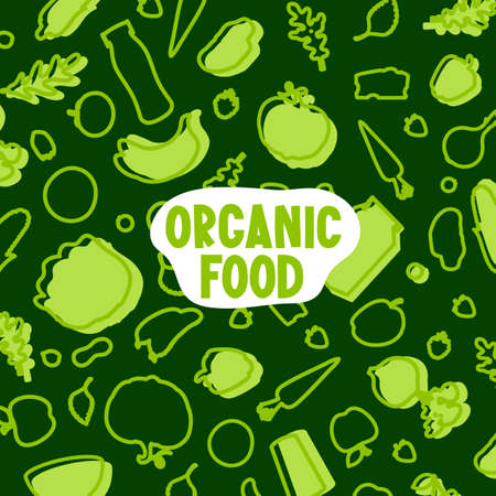 Organic Food text and vegetable pattern on green.