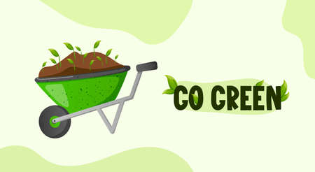 Go Green text label and wheelbarrow with sprouts.