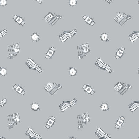 Seamless pattern with running jogging equipment.