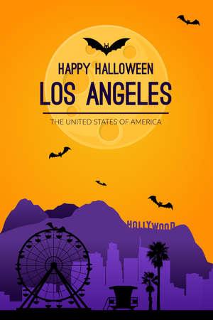 Los Angeles, USA. Halloween holiday background.  イラスト・ベクター素材