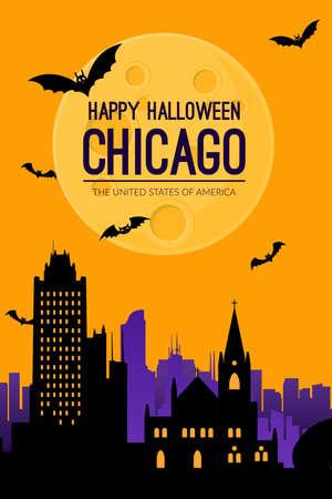 Chicago, USA. Halloween holiday background. Ilustración de vector