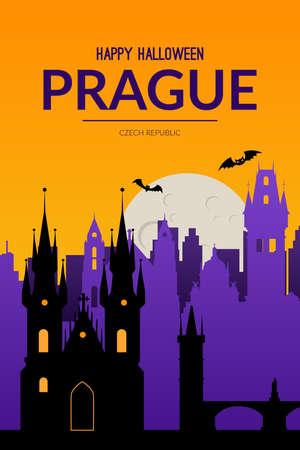 Prague, Czech Republic Halloween background