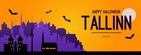 Tallinn, Estonia Halloween holiday background.