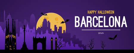 Barcelona, Spain. Halloween holiday background. Vettoriali
