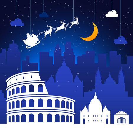 Roma, Italy. Christmas holiday background.