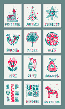 ? set of gift cards in Scandinavian style. Templates with creative illustrations and month names for the calendar.