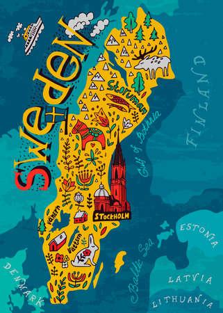 Geïllustreerde kaart van Zweden. Reizen en attracties Vector illustratie.
