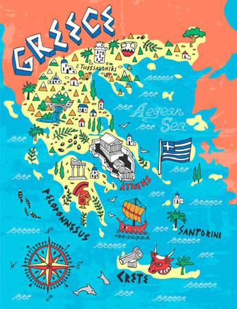 Illustrated Map of Greece. Travel and attractions