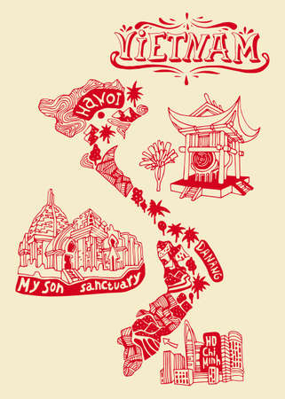 Illustrated map of Vietnam. Travel and attractions