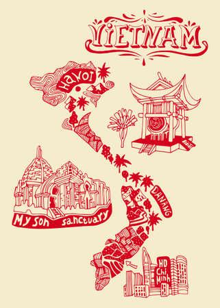 Carte illustrée du Vietnam. Voyage et attractions Banque d'images - 95737313