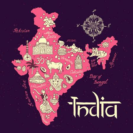 illustrated  Map of India. Travel and attractions. Illustration