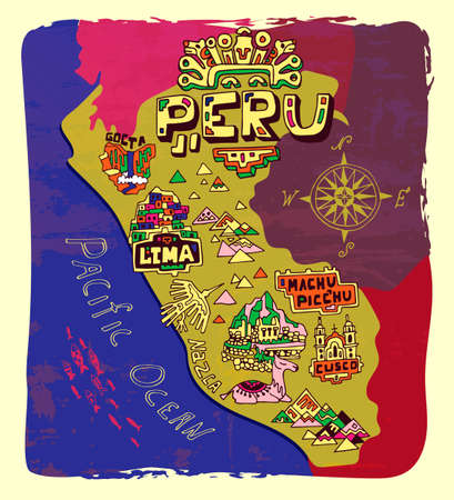 Illustrated map of Peru. Travel and attractions Vettoriali