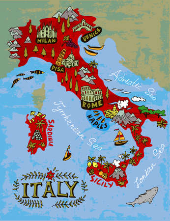 Illustrated Map of Italy. Travel and attractions Vettoriali