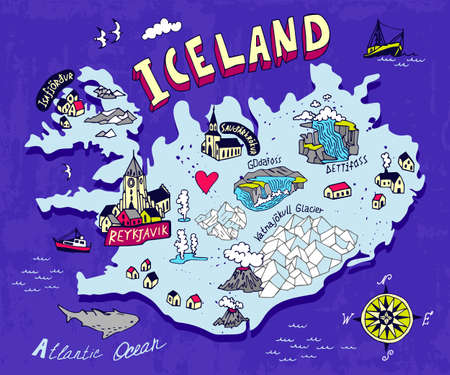 Illustrated map of Iceland. Travel and attractions Vettoriali