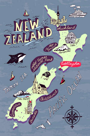 Illustrated map of the New Zealand. Travel and attractions Illustration