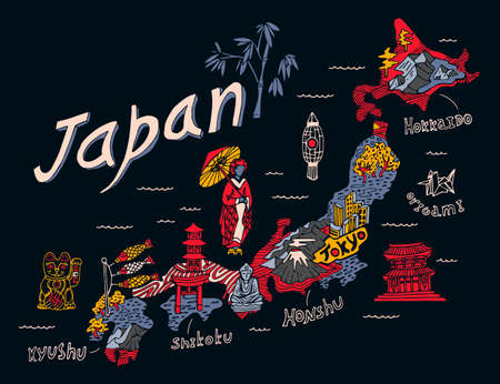 Illustrated map of Japan. Travel and attractions