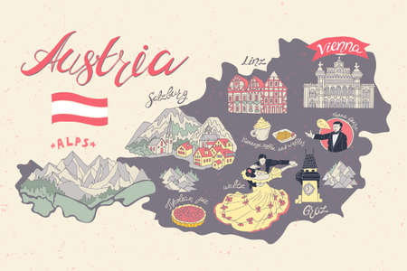 Illustrated map of Austria. Attractions and national symbols of the country Vettoriali