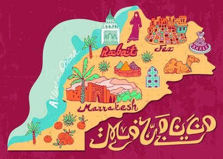 Geïllustreerde kaart van Marokko. Reizen en attracties