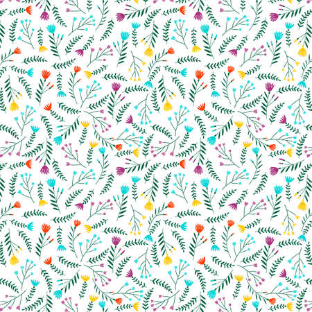 Floral seamless pattern in Scandinavian style. Wrapping paper for Women's Day. Ilustração