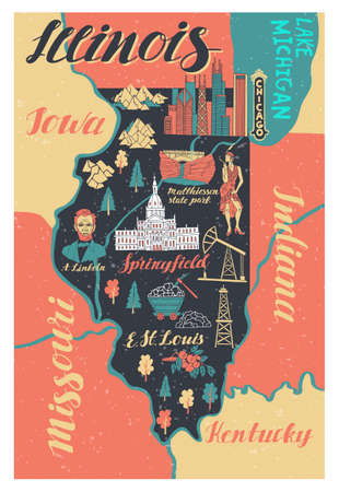 Illustrated map of Illinois. Travel and attractions 向量圖像