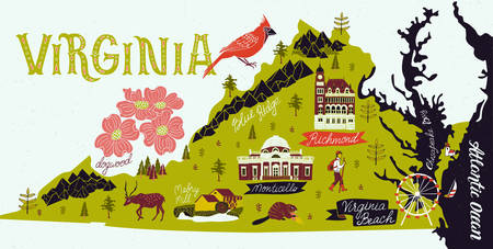 Illustrated map of Virginia, USA. Travel and attractions