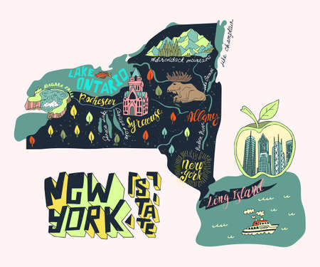 illustrated tourist map of New York state, USA. Travel and attrections