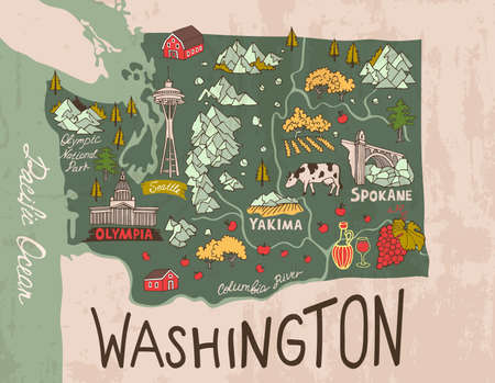 Cartoon map of Washington state. Travel and attractions.