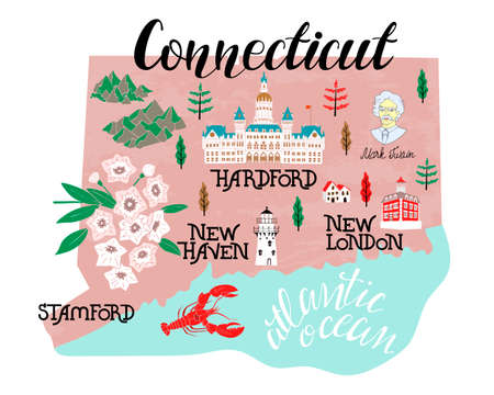 Illustrated map of Connecticut, USA. Travel and attractions. Vecteurs