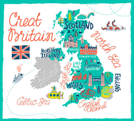 Illustrated map of the Great Britain. Travel and attractions