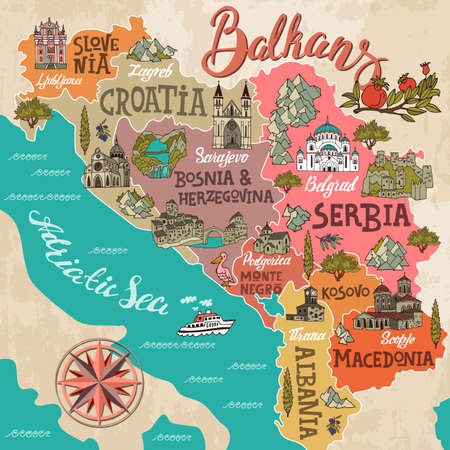 Cartoon map of Balkans. Travel and attractions of Eastern Europe