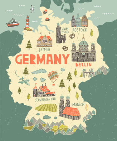 Illustrated map of Germany. Travel and attractions of Europe.