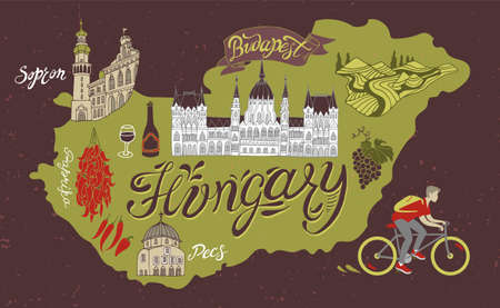 Illustrated map of Hungary. Travel and attractions of Eastern Europe.