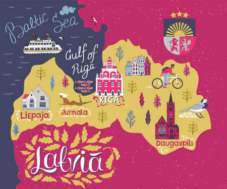 Cartoon map of Latvia. Travel and attractions of Eastern Europe