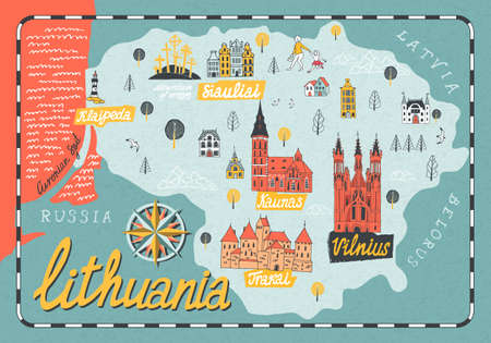 Cartoon map of Lithuania. Travel and attractions of Eastern Europe Vektorgrafik
