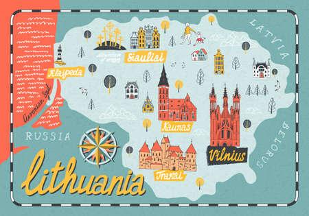 Cartoon map of Lithuania. Travel and attractions of Eastern Europe Vektoros illusztráció