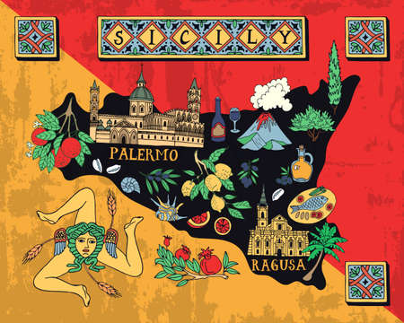 Illustrated map of the Italian island of Sicily. Travel and attractions.