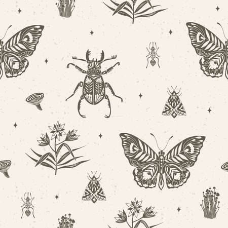 Seamless pattern with butterflies, insects and plants. Suitable for wrapping paper, leanen, textiles. Ecostyle. Vector Illustration