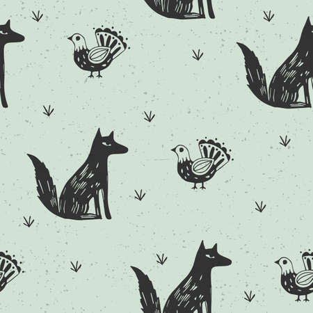 Seamless pattern with fox and bird in scandinavian style. Textile background. Wrapping
