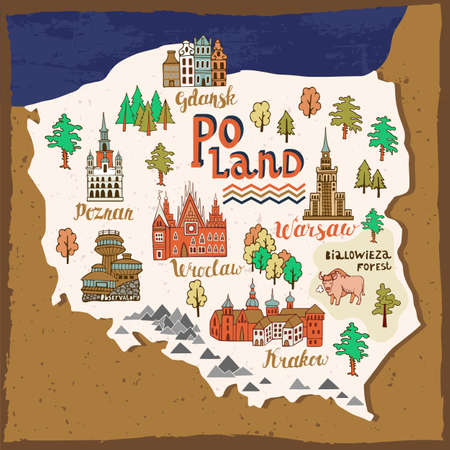 Illustrated map of Poland. Landmarks and national symbols of the country Vetores