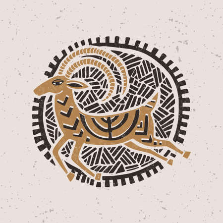 Illustration with a stylized gazelle in the technique of linocut. Can be used as a stamp on clothing, postage stamp, postcard Vector Illustration