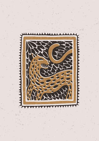 Illustration with a stylized leopard in the technique of linocut. Can be used as a stamp on clothing, postage stamp, postcard