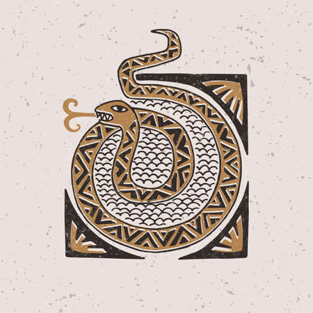 Illustration with a stylized snake in the technique of linocut. Can be used as a stamp on clothing, postage stamp, postcard Banque d'images - 149581813