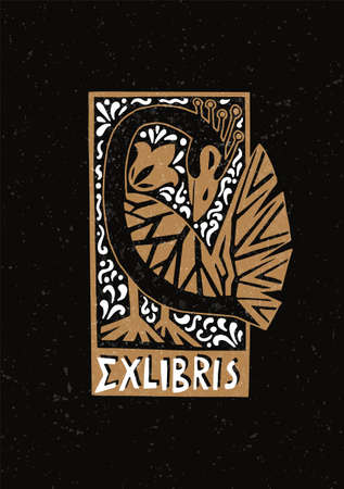 Illustrated greeting card with a mythological bird in the style of art deco.